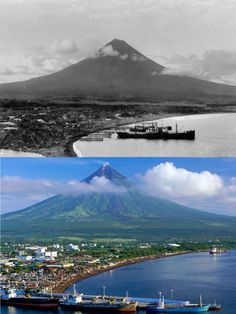 Dito, Noon: Mayon Volcano, 1818 x 2019 Present Day, Volcano, Mount Rainier, Philippines, Mountains, History, Nature, Travel, Art