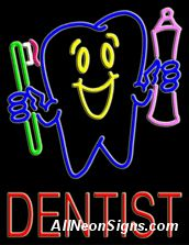 """Neon Sign - DENTIST-10426-4268  24"""" Wide x 31"""" Tall x 3"""" Deep  110 volt U.L. 2161 transformers  Cool, Quiet, Energy Efficient  Hardware & chain are included  6' Power cord  For indoor use only  1 Year Warranty/electrical components  1 Year Warranty/standard transformers."""