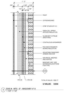 Check out our REVISED metal framed masonry veneer standard wall detail with a continuous R value of 28.8