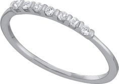 10KT White Gold 0.11CTW ROUND DIAMOND LADIES FASHION BAND: Rings