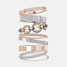Fall bangles stacked high in mixed metals with extra sparkle #swarovski - #jewellery #watches #gracecojewels #swarovski