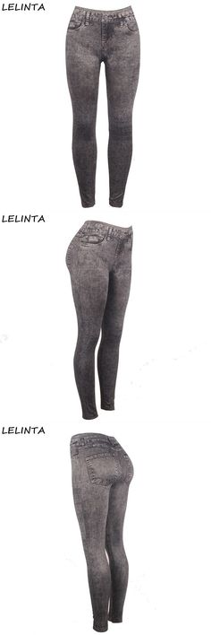 12283ca4584 Sexy black elastic stretch imitation jeans women body building fitness leggings  pants lady slimming control jeggings