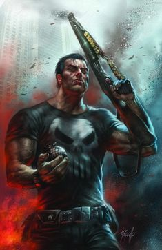 The Punisher by Lucio Parrillo - ZdoRodZ Punisher Comics, Punisher Marvel, Marvel Comics Art, Marvel Heroes, Gambit Marvel, Daredevil, Comic Book Characters, Marvel Characters, Comic Books Art