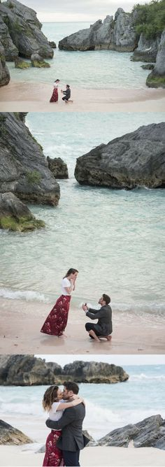 This beach proposal in Bermuda is absolutely stunning! They were in the middle of a photoshoot when he got on one knee.