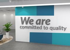Office Decor Affirmation Quote – We are committed to quality – SKU:EACQ – Office Design 2020 Office Reception Design, Corporate Office Decor, Office Wall Design, Office Paint, Office Branding, Dental Office Design, Office Walls, Office Interior Design, Office Interiors