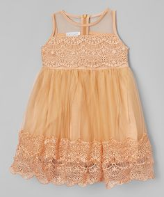 Look at this Just Couture Iced Coffee Lace Babydoll Dress - Toddler & Girls on #zulily today!