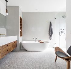 floor goals right here 🙌 // our acier marble chip terrazzo tiles look stunning thanks to the gorgeous Bathroom Concrete Floor, Polished Concrete Tiles, Bathroom Flooring, Terrazzo Flooring, Concrete Floors, Floor Colors, Marble, Bathroom Pictures, Bathroom Ideas