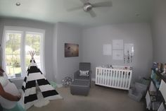 Gray and White Tribal Themed Nursery - so on-trend!