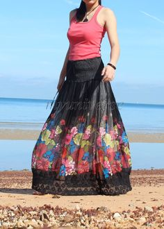 Chiffon Maxi Skirt Inspiration Floral Long Skirt/ Fall Party Women Skirt Gifts Idea Black Skirt Ladies on Etsy, $32.00