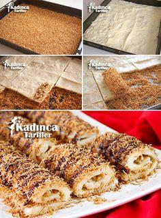 Kadayıflı Paşa Sarması Tarifi Turkish Recipes, Ethnic Recipes, Wrap Recipes, Food Hacks, Deserts, Dessert Recipes, Food And Drink, Cooking Recipes, Sweets