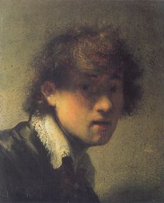 Self Portrait. Autoretrato. Rembrandt. 1629. Oil on panel. 15.5 X 12.7 cm. Alte Pinakothek. Munich.