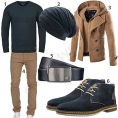 Blue mens outfit with beige chino and wool Blaues Herrenoutfit mit beigem Chino und Wollmantel Warm outfit with blue blend sweater, knit hat, beige wool coat, beige Amaci & Sons Chino, blue Bugatti leather belt and half-high shoes. Look Fashion, Mens Fashion, Fashion Outfits, Elegantes Business Outfit, Stylish Men, Men Casual, Beige Chinos, Mode Man, Style Masculin