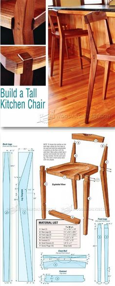 Kitchen Chair Plans - Furniture Plans and Projects - Woodwork, Woodworking, Woodworking Plans, Woodworking Projects Furniture Projects, Furniture Making, Wood Furniture, Wood Projects, Furniture Design, Woodworking Furniture Plans, Woodworking Projects, Intarsia Woodworking, Woodworking Vise