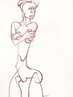 Dumile Feni: Untitled (Nude with crossed arms)