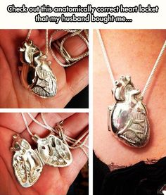 Check out this anatomically correct heart locket that my husband bought me! (I'm a ER nurse, hearts are my thing. Chic Outfit, Anatomically Correct Heart, Jewelry Box, Jewelry Accessories, Men's Jewellery, Geek Jewelry, Heart Locket, Locket Necklace, Necklaces
