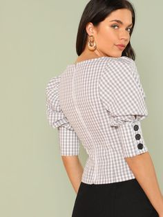 To find out about the Square Neck Gigot Sleeve Plaid Top at SHEIN, part of our latest Blouses ready to shop online today! Sleeves Designs For Dresses, Sleeve Designs, Blouse Styles, Blouse Designs, Batik, Blouse Online, Grey Fashion, Types Of Sleeves, Fashion News