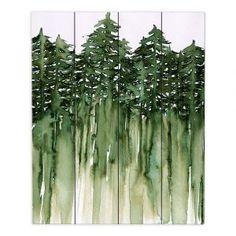Decorative Wood Plank Wall Art | Julia Di Sano - Forest Trees Green