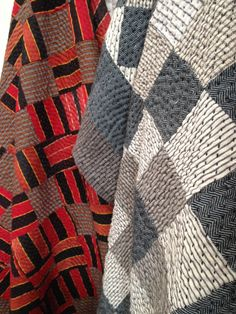 """""""Khamir"""" and """"Chequered Red Squares"""" patchwork quilts for Stitch by Stitch.  Made in India by master quiltmaker.  Organic kala cottons and vintage mashru fabrics. GBP 1155 - 1200."""