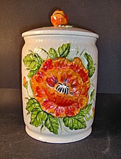 Lefton Large Canister With Poppy Flower Design Ceramic Canister Set, Canister Sets, Canisters, Cooking Ingredients, Flower Designs, Poppy, Goodies, Ceramics, Flowers