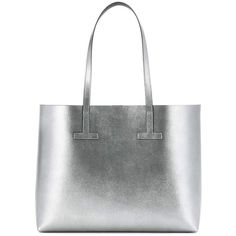 Tom Ford Metallic Leather Shopper (17.960.050 IDR) ❤ liked on Polyvore featuring bags, handbags, tote bags, silver, shopping bag, white leather handbags, genuine leather tote, shopper tote and white leather tote bag
