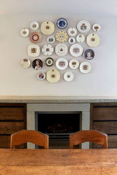 Love this display of kitschy china by Found Associates