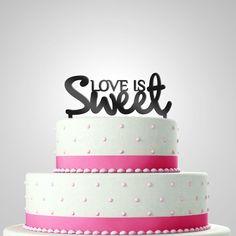 "Hochzeit, Deko, Cake Topper ""Love is sweet"" // Wedding Cake Topper ""Love is sweet"" via DaWanda.com"
