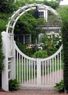moon gates | Merriment through the Moon Gate Gravel Garden, Garden Fencing, Fence Design, Garden Design, Moon Gate, Beautiful Flowers Images, Fence Styles, White Picket Fence, She Sheds