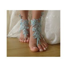 Blue Lace Barefoot Sandals, french lace, Bridal Lace Shoes Foot j ❤ liked on Polyvore featuring shoes, sandals, bridal footwear, lacy shoes, blue sandals, lace bridal shoes and bridal sandals