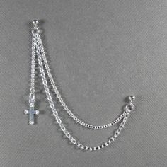 Cross Double Piercing Cartilage Earring With Chain In Sterling Silver 925 Single Earring