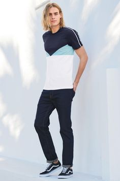 Buy Navy/White Block Panel T-Shirt online today at Next: Australia