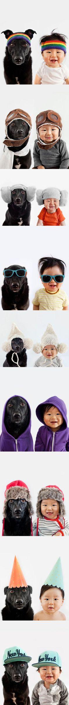 Um menino e seu cachorro são fotografados com o mesmo visual! Uma graça!