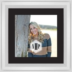 Deco Monogram Framed Print, White, Classic, Black, Black, Single piece, 12 x 12 inches, White