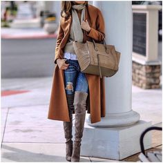 Brown coat, skinny jeans, over the knee boots and Celine bag for winter layers.