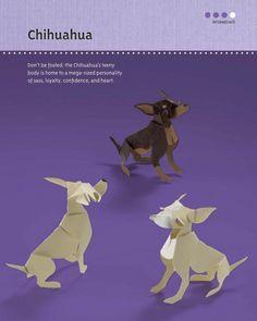 """Paper Chihuahuas--a peek inside """"Paper Pups: 35 Dogs to Copy, Cut & Fold"""" by Hiroshi Hayakawa"""