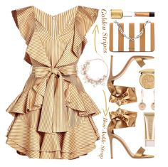 """Golden Stripes'"" by dianefantasy ❤ liked on Polyvore featuring Zimmermann, Gianvito Rossi, Prada, Christian Dior, Essie, Jane Iredale, Aurélie Bidermann and Laura Mercier"