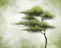 Wind Blowing Green Tree Wall Art 11 x 14 by NaturesHeavenlyArt