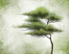 Wind Blowing Green Tree Wall Art 11 x 14 von NaturesHeavenlyArt