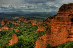 Las Medulas! Location: Provincia de León, Spain.. Kinda reminds me of the Grand Canyon but with green!