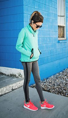 Neon Coral And White Athletic Sneakers