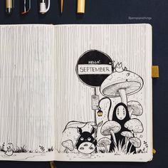 Some forest shrooms and Ghibli love for September! Always love a bit of fun at the beginning of the month :) : bulletjournal