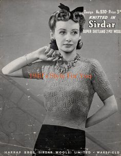 1940's Style For You: Free Knitting Pattern - 1940's Jumper - Sirdar 930...