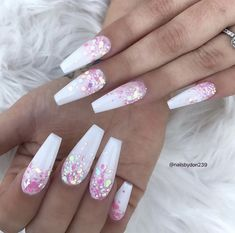 In seek out some nail designs and ideas for your nails? Listed here is our set of must-try coffin acrylic nails for cool women. Cute Acrylic Nail Designs, Best Acrylic Nails, Summer Acrylic Nails, Nail Art Designs, Nails Design, White Acrylic Nails With Glitter, Coffin Nail Designs, White Nail Designs, Glitter Nail Art