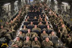"""Tonight's photo comes from Carson Heath. Carson says, """"This is the North Carolina National Guard's 211th Military Police Company based out of Clyde, NC on a C-17 going straight to Afghanistan. I am the company photographer and I'd be glad help you guys out in any way while we are over here. We made it safe and we are just getting acclimated to the weather and the environment."""""""
