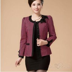 Dmart7deal autumn spring middle-aged short jacket women casual plaid slim single-breasted plus size 5XL Blazer Free Shipping AE417