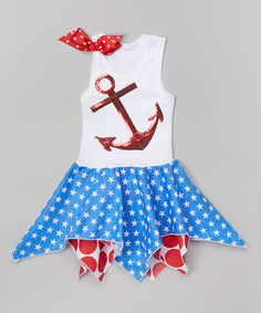 Look at this Red Sequin Anchor Handkerchief Dress - Infant, Toddler & Girls on #zulily today!