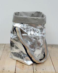 Silver Metallic Tote Bag Metallic Tote Bags, Geometric Designs, Silver, Home Decor, Decoration Home, Money, Room Decor, Block Patterns, Geometry Pattern