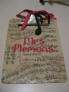 Oooooh. I like this idea better than mine! Music teacher gift--except I would use matte finish modge lodge