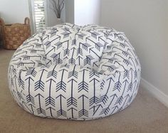 Bean Bag canopy stripe Grey and White Stripes by MyBeachsideStyle