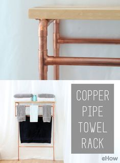 A fun take on traditional towel bars. Easy to DIY, this copper pipe towel rack is a must for a modern home and a great addition to update your bathroom! how-to here: http://www.ehow.com/how_12343230_make-copper-pipe-towel-rack.html?utm_source=pinterest.com&utm_medium=referral&utm_content=freestyle&utm_campaign=fanpage