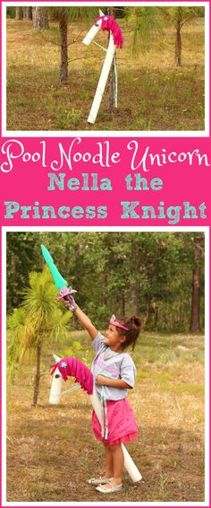 Easy Pool Noodle Unicorn DIY, made for under $4   Craft your own horse or unicorn out of pool noodles, just like Trinket from Nella the Princess Knight #nellatheprincessknight #unicorn #kidscraft via @raisingwhasians